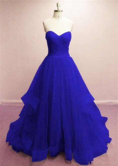 Pretty Royal Blue Prom Gowns, Blue Evening Dresses, Tulle