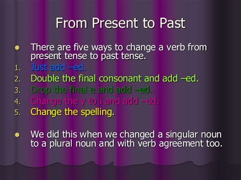 Changing verbs present past future