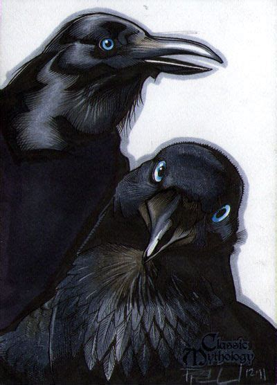 """In Norse mythology, Huginn (from Old Norse """"thought"""") and"""
