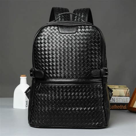 Cool ! Black Leather Backpack Schoolbag Fashion Solid