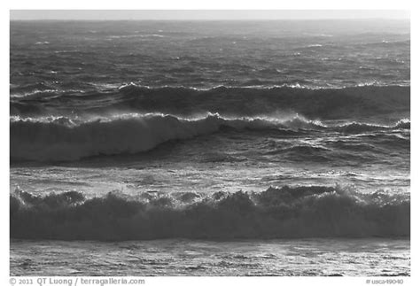 Black and White Picture/Photo: Storm surf at sunset