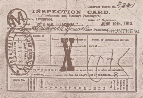 Immigration Archives - Immigrant Inspection Card - Cunard